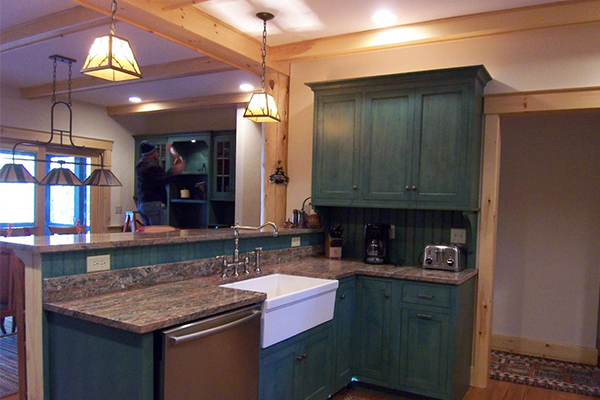 Green stained cabinets