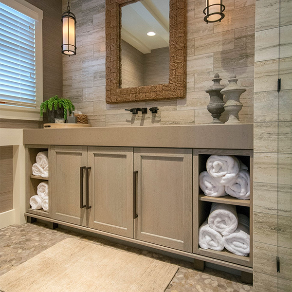 Weathered Grain White Oak cabinets in this remodeled guest bath